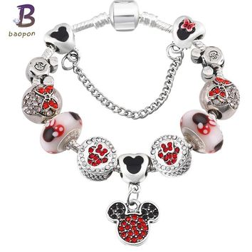 BAOPON Silver Plated Mickey European Charm Bracelets& Bangles Black Color Crystal Pandora Bracelets For Child Gift Jewelry