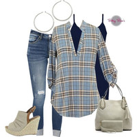 Set 438: Baby Blue Plaid Blouse (includes top, tank & hoops)