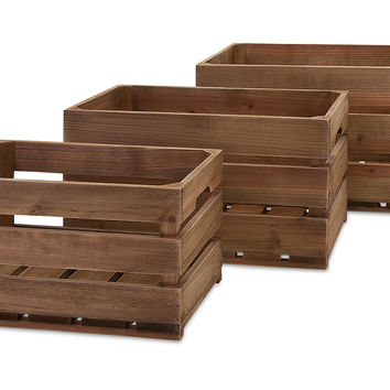 Asst. of 3 Ainsley Wood Crates, Natural, Decorative Bins, Baskets & Crates
