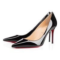 Christian Louboutin Cl Decollete 554 Black Patent Leather 85mm Stiletto Heel Classic
