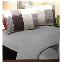 Elegant Jacquard Grey Floral Paisley Linen Fitted & Flat Sheets Set with Pillow Cases Sham Covers (FSFS8222)