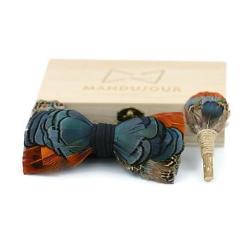 Los Angeles Feather Bow Tie & Lapel pin set
