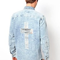 River Island Shirt with Flag Cross on Back at asos.com