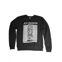 Featuring super soft blended material with white print of Unknown Pleasures and Joy Division Logo on front, crewneck, long sleeves. Unlined.