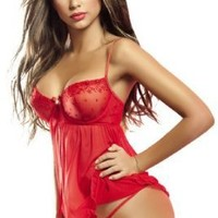 Besame High Quality Lace Babydoll String Thong Included Red SL1554 Made in Colombia