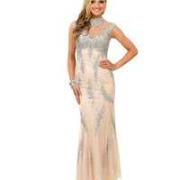 Champagne Crystal Beaded Lace Cap Sleeve Mermaid Long Dress 2015 Prom Dresses