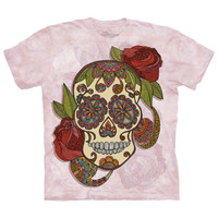 PAISLEY SUGAR SKULL The Mountain Mexican Day Of The Dead Pink T-Shirt S-3XL NEW
