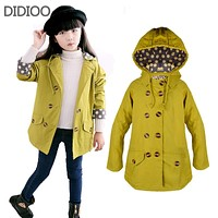 Children jackets for girls coat fashion autumn Double-breasted big children windbreakers outfits kids clothes