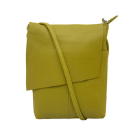 Leather Rawhide Flap Crossbody Bag - Moss Green