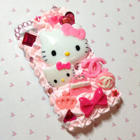 Pink hello kitty and fashion decoden iPhone 4 case