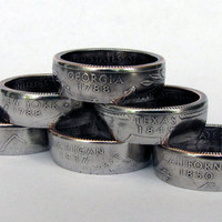 State Quarter Coin Rings Choose Your State,Unique Ring,Coin Jewelry,Mens,Band,Rings