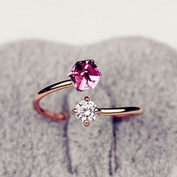 Crystal And Rhinestone Cuff Ring (Adjustable, Open End)