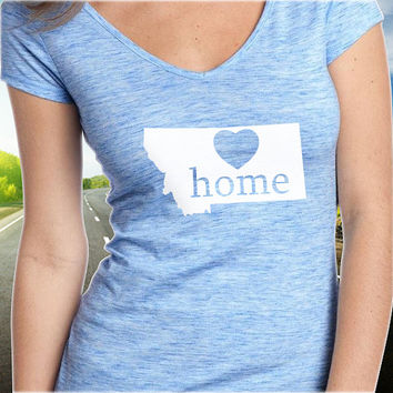 Montana Home T-Shirt - V-Neck - State Pride - Home Tee - Clothing - Womens - Ladies