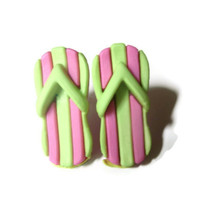 Striped Flip Flop Earrings, Sandal Studs, Pink and Green, Shoe Jewelry, Summer Fashion, Beach Accessory, Hypoallergenic