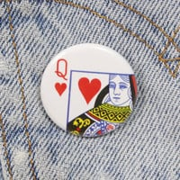 Queen Of Hearts 1.25 Inch Pin Back Button Badge
