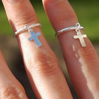 Textured Sterling Silver Above Knuckle Ring with Cross Charm from Black Tied