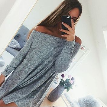 Fashion Strapless Pure Color Long Sleeve Dress