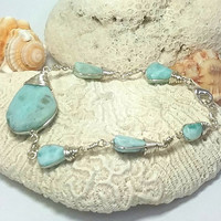 Caribbean Larimar wire wrapped Sky Blue Bracelet, silver plated, beach dolphin surf unisex boho handmade