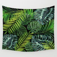 Jungle Tangle Green On Black Wall Tapestry by ALLY COXON