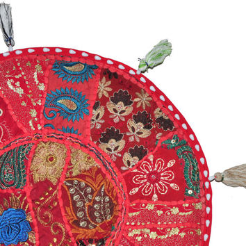 """22"""" Patchwork Round Floor Pillow Cushion in Red round embroidered Bohemian Patchwork floor cushion pouf Vintage Indian Foot Stool Bean Bag"""