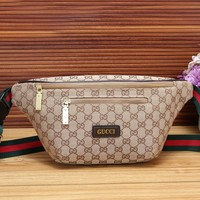Gucci Fashionable Women Leather Purse Waist Bag Single-Shoulder Bag Crossbody Satchel Khaki