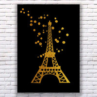 Eiffel Tower Gold Art Print Instant Download Printable Black Edition