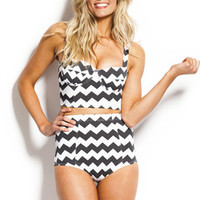 BOMBSHELL TOP - CHARCOAL/WHITE CHEVRON - Kingdom and State