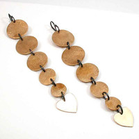 Brass Disc and Heart Earrings Graduated and by SwankMetalsmithing