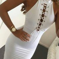 Solid Lace Up Sleeveless Bodycon Dress