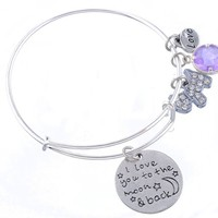 Encounter I Love You to the Moon and Back With Puppy Love Adjustable Wire Bangle Charm Bracelet