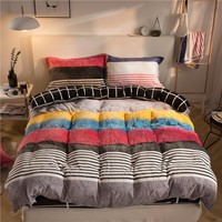4pcs Mink Velvet fashion Bedding Sets AB sides winter warm Fleece Duvet Cover set Bed Sheet Pillowcases Queen King size
