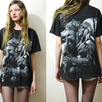 90s Vintage WOLF EAGLE Tshirt Native American Faded Black Soft Cotton Shirt Print Motif Top Grunge Bohemian 1990s vtg Unisex