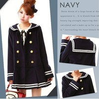 Navy cute dress deep blue coat