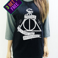 Deathly Hallows Snake Harry Potter Tee Shirt Spell Magic Baseball Men Women Shirt Unisex Funny Tshirt Raglan 3/4 Long Sleeve