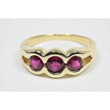 VTG Natural Mined 3 Stone Ruby Ring Pigeon Blood Red in 14k Solid Yellow Gold