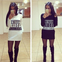 Women Long Sleeve Casual Letter Print Pullover Plus Size Soft Sweatshirts Long Top = 5739068097