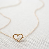 Open Heart Necklace, 24k gold Vermeil Heart,Sideways heart necklace,Horizontal Heart Necklace,Gold Heart Pendant,Dainty Heart Necklace