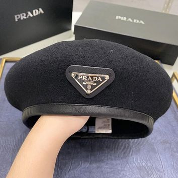 Prada New fashion women berets cap hat Black