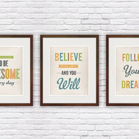 Set of three, quote poster prints, inspirational quote, vintage style print, motivational art, shabby decor, housewarming prints 8x10 or A4
