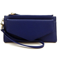 Envelope Style Wallet Clutch with Wristlet Strap - Navy, Wine, Taupe or Black