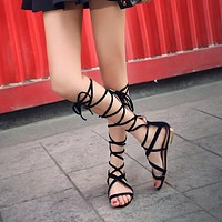 Cross Straps Faux Suede Flats Gladiator Sandals 2026