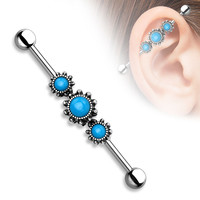 Triple Turquoise Industrial barbell Surgical Steel 14ga Body Jewelry 316L Surgical Stainless Steel