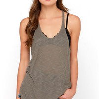 Rule the School Taupe Racerback Tank Top
