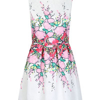 White Floral Embroidered Pleated Mini Dress