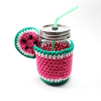 Watermelon Mason Jar Mug, Jar Tumbler, Drinking Glass Set, Crochet Cozy With Sip Cup, Smoothie Jar, Party Mug, Housewarming Gift Set
