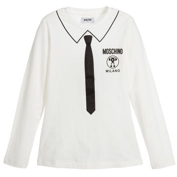 Moschino Boys Ivory Tie Printed Top