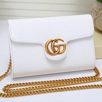 GUCCI Hot Sale Women Leather Metal Chain Shoulder Bag Crossbody Satchel White