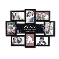 """Decorative Black Plastic """"Home"""" Wall Hanging Collage Picture Photo Frame"""