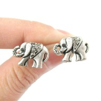 Classic Elephant Shaped Stud Earrings in Silver with Rhinestones   Animal Jewelry