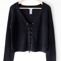 Lace Up Knit Cropped Sweater - Black